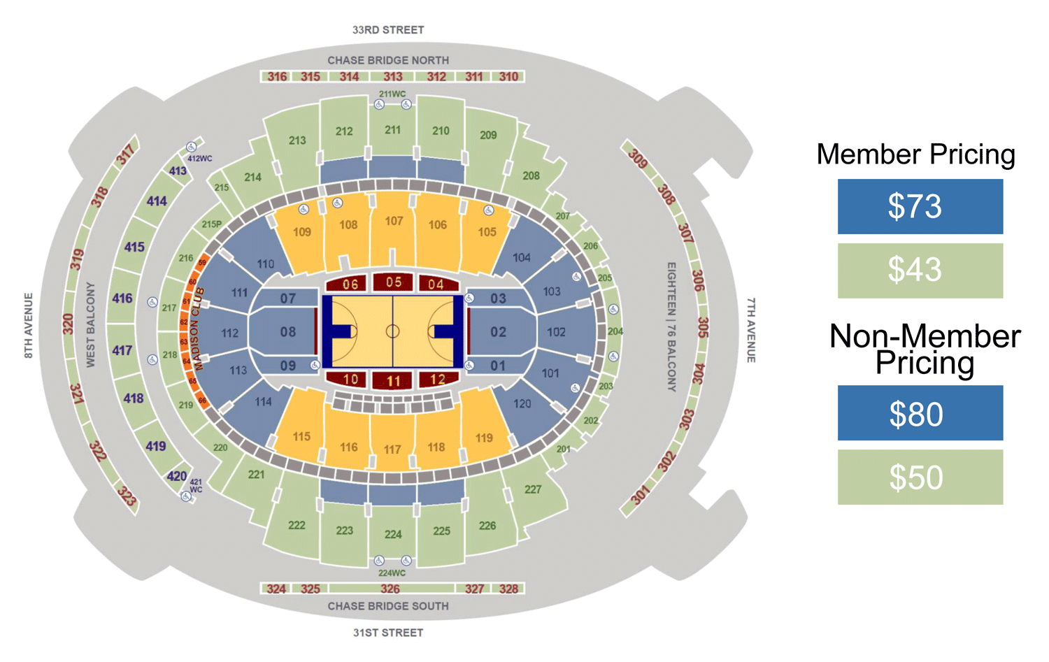 Square Garden Seating Chart Basketball